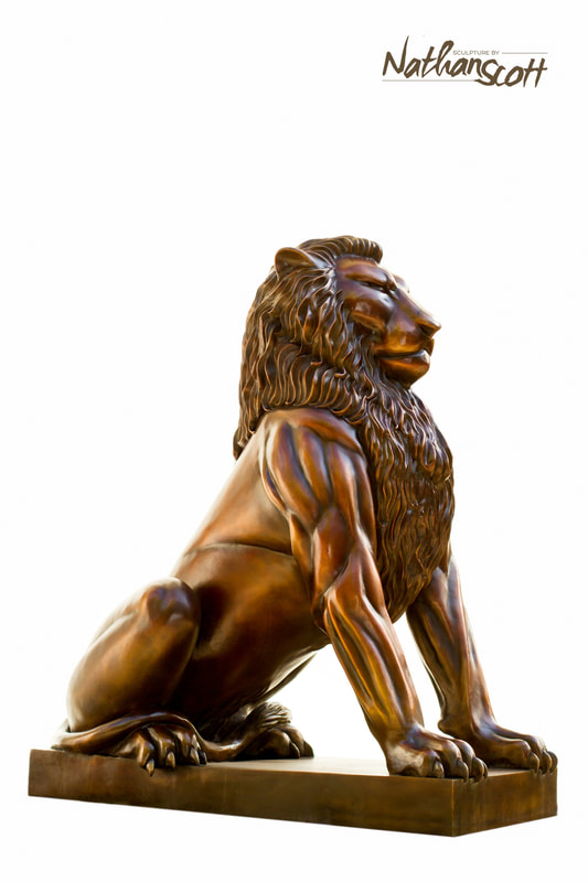 bronze scuplture wildlife lion figure design build entrance nathan scott
